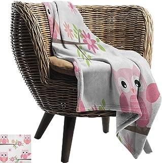 Alexandear Owl,Lightweight Blanket,Cute Baby Owls Waving in The Floral Tree Springtime Artful Girly Design Print 60