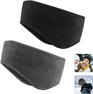KOMAKE Ear Warmers Headband, 2 Pack Earmuff Headband Fleece Earmuffs Sport Headband Winter Ear Covers Moisture Wicking Sweatband Ski Running Headband for Men & Women (Black+Gray)