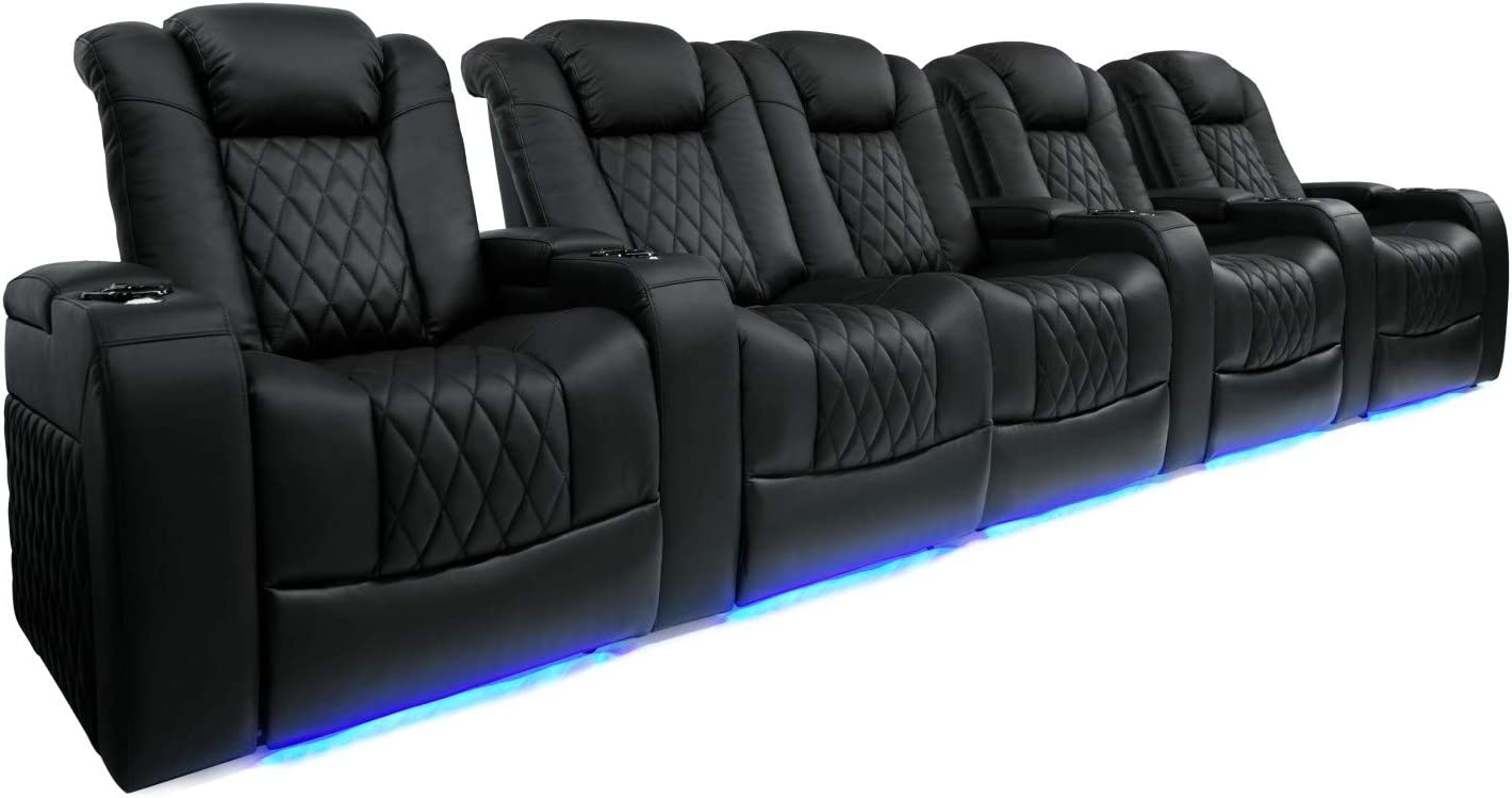 Power Headrest Premium Top Grain Italian Nappa 11000 Leather Valencia Tuscany Home Theater Seating Power Lumbar Support Row of 2, Dark Chocolate Power Reclining