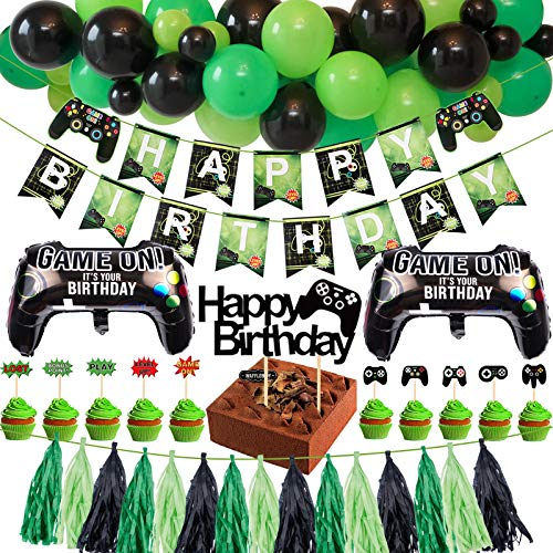 Tacobear Spiel Party Deko Videospiel Party Zubehör Set mit Happy Birthday Banner Girlande Quasten Geburtstag Tortendeko Hängende Luftballons Folienballon Geburtstagsdeko für Kinder Jungen