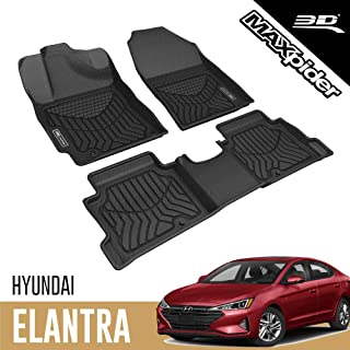3D MAXpider Custom Fit All-Weather Floor Mat for 2017-2020 HYUNDAI ELANTRA SEDAN BLACK MAXTRAC SERIES