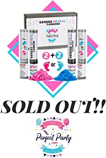 Baby Gender Reveal Powder Cannons | Features More Powder for Ultimate Burst and Gift Ready Packaging | Set of 4 Party Poppers (2 Pink, 2 Blue) | Boy or Girl Gender Reveal Party Supplies
