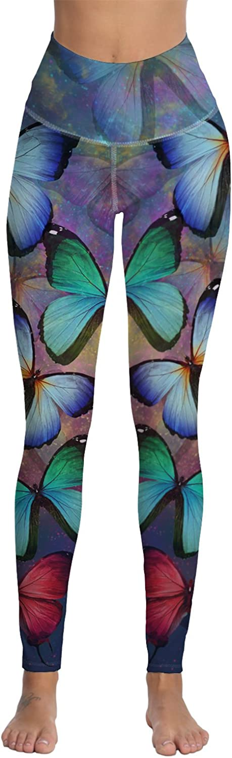Fandim Fly Women's Printed Yoga Pants High Waist Tummy Control Workout Pants Leggings with Pocket