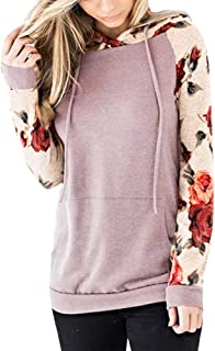 〓COOlCCI〓Women Novelty Hoodies,Women Floral Hoodies Long Sleeve Drawstring Casual Sweatshirts Pullover Tops with Pockets
