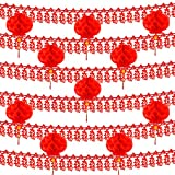 FEPITO 18M/59Ft Chinese New Year Fu Garlands Chinese Good Luck Banner and 10Pcs Red Chinese Lanterns Decorations for Chinese New Year, Spring Festival, Chinese Wedding and Restaurant Decoration