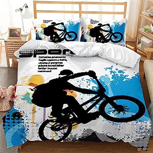 Fundas Nordicas 105 180x220 Niño En Bicicleta, con Cremallera, Suave Cómodo Juego de Ropa de Cama...