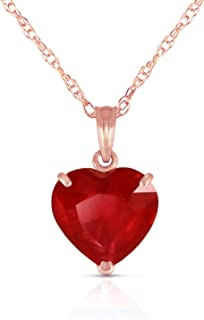 Galaxy Gold 14k Solid White, Yellow, Rose Gold Necklace Heart Shaped 10 mm 4.3 ct Red Ruby 5662 (18.00, rose-gold)