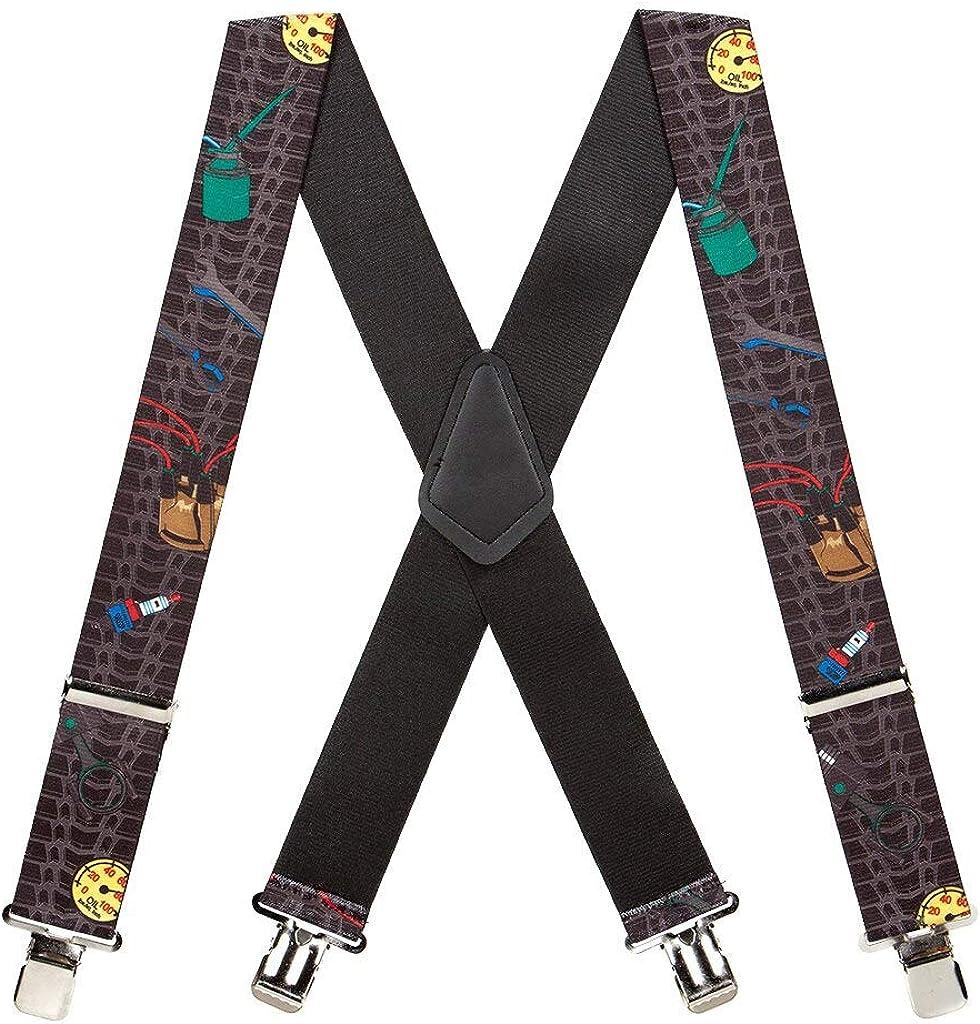 SuspenderStore Men's Mechanic Tradesman Clip-End Novelty Suspenders (3 Sizes)