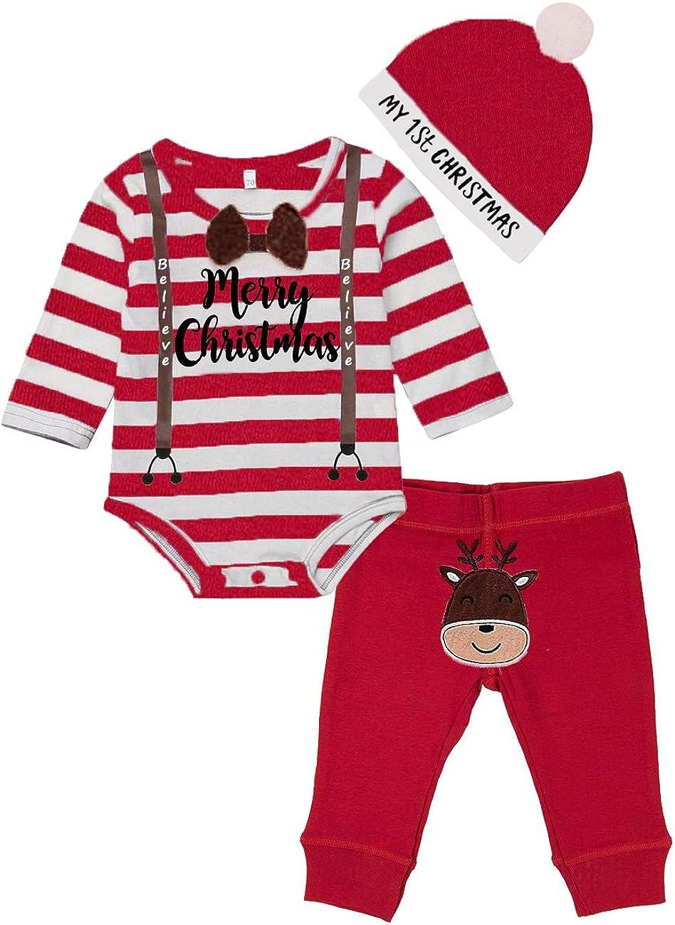 Newborn Baby Boy Girl Christmas Outfit Letter Print Romper Bodysuit+Plaid Pants+Headband 3Pcs Infant Christmas Pajamas Set