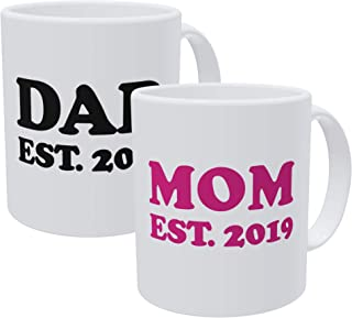 Willcallyou Pack Of 2 Mom and Dad Est 2019 Established 11 Ounces Funny Coffee Mug