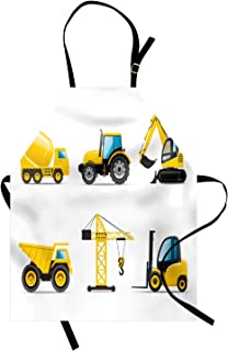 Lunarable Nursery Apron, Cartoon Style Heavy Machinery Truck Crane Digger Mixer Tractor Construction, Unisex Kitchen Bib with Adjustable Neck for Cooking Gardening, Adult Size, Yellow Grey