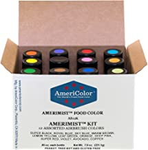 Food Coloring AmeriColor AmeriMist Airbrush Kit, 12 .65 Ounce Bottles