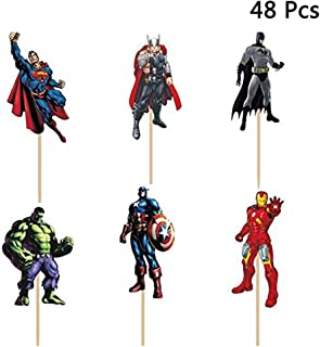 Finduat 48 Pack The Avengers and Superheros Cupcake Toppers for Kids Birthday Party Baby Shower Cake Decorative