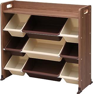 アイリスオーヤマ おもちゃ箱 天板付き ブラウン 幅86.3×奥行34.8×高さ79.5cm キッズ トイハウスラック TKTHR-39