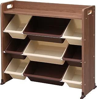 アイリスオーヤマ おもちゃ箱 ブラウン 幅86.3×奥行34.8×高さ79.5cm 天板付キッズトイハウスラック TKTHR-39