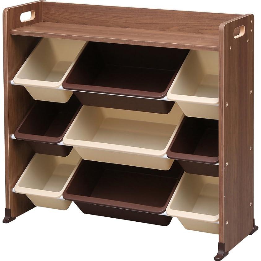 剪断生倍率アイリスオーヤマ おもちゃ箱 ブラウン 幅86.3×奥行34.8×高さ79.5cm 天板付キッズトイハウスラック TKTHR-39