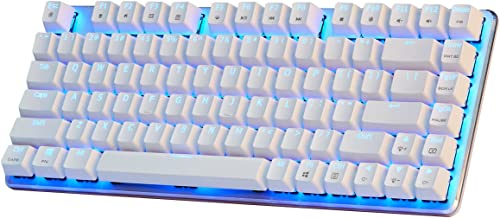 Mechanical Gaming Keyboard Blue Backlight GATERON Brown Switch 82-Keys(80%) Wired Mini Design Keyboard-Case White by Qisan