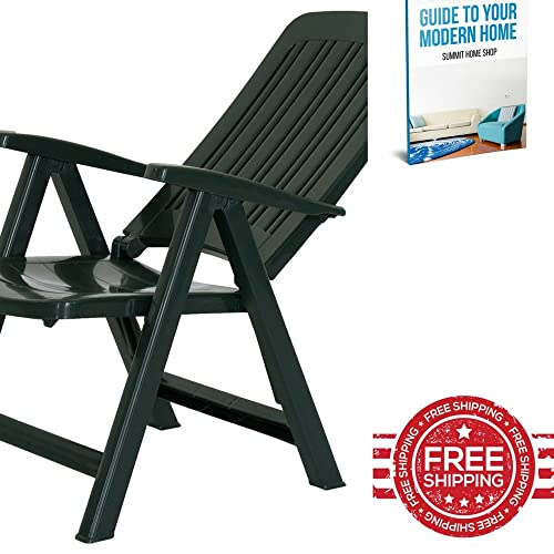 XFACTOR DEAL LIMITED Plastic Patio Chair Adjustable Recliner Ergonomic Lounge Garden Bistro Indoor Outdoor Deck Arm Chair Plastic Folding Frame Furniture & E book by SUMMIT HOME SHOP.