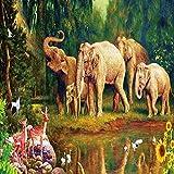 UHvEZ Elephant Family The Wooden Puzzle 1000 Piezas ersion Jigsaw Puzzle Juguetes educativos para niños Adultos_Rompecabezas Educativo de Regalo para niños_50X75CM