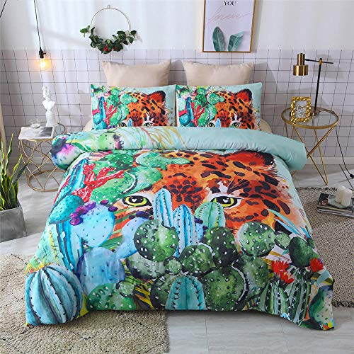 yzrose Bettwäsche Bettbezug Leopard Bunte Moderne Kaktus Polyester Bettbezug Blatt Tröster Bettwäsche Set-140x200