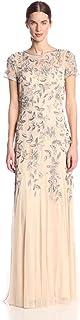 Adrianna Papell Women Floral Beaded Godet Short Sleeve Dress