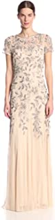 Women's Floral Beaded Godet Gown with Sheer Short Sleeves