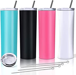 Sponsored Ad - Zonegrace 4 Pack Mix Color Skinny Tumbler with straws,Double Wall stainless Steel slim Insulated Water Tumb...