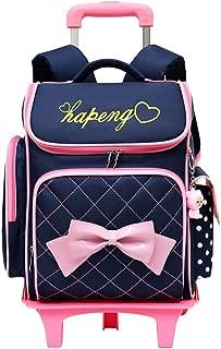 Cute Print Bowknot Trolley Backpack Elementary Middle School Rolling Bag Wheeled Waterproof BookBag with Little Cuty Doll for Kids Girls