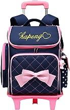 Adanina Cute Print Bowknot Trolley Backpack Elementary Middle School Rolling Bag Wheeled Waterproof BookBag with Little Cuty Doll for Kids Girls