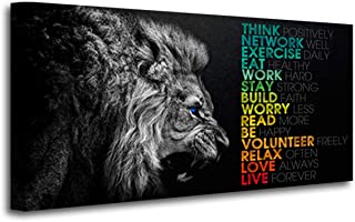 Animal Lion Canvas Wall Art Motivational Inspirational Quotes Picture Canvas Prints with Frame, Wall Art Decorative