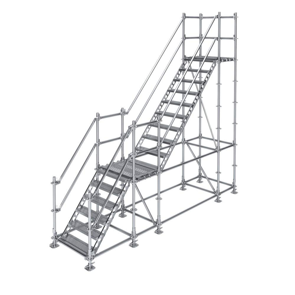 Scafom-rux - Escalera de construcción (para 3 m de diferencia de altura, con pedestal, acero galvanizado): Amazon.es: Bricolaje y herramientas