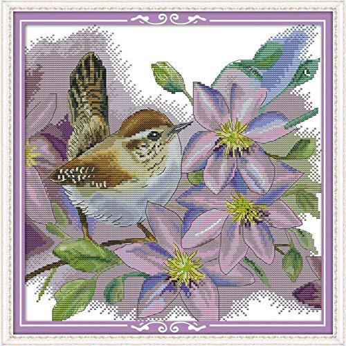 Vogels onder de blauwe bloemen tellen het kruis 14CT kruispak katoenen kruisborduurnaald en -garenpakket handgemaakt 40x50cm