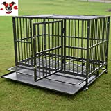 DOIT Large Heavy Duty Dog Cage Strong Metal Kennel XL Crate Pet Tray