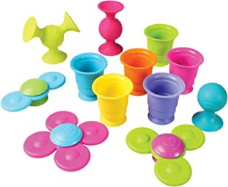 Fat Brain Toys Pipsquigz Whirly-Squigz Suction-Kupz Set - 12 Piece Early Learner Toys - 6 Suction Kupz Stacking Toys, 3 Pi...