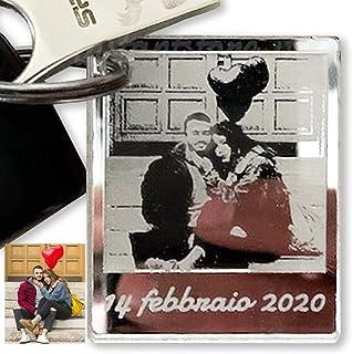 Portachiavi personalizzato con foto incisione in plexiglass specchiato formato polaroid