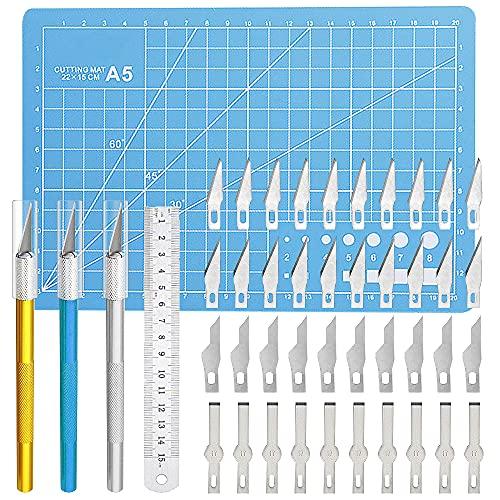 Lhedon Carving Craft Messer Set,Precision Craft Hobby Messer Set Enthält 40 Ersatzklingen,Skalpell Mit 3 Griffen,1 Schneidebrett,1 Stahllineal,Bastelmesser Schnitzmesser für DIY Art Work Caving