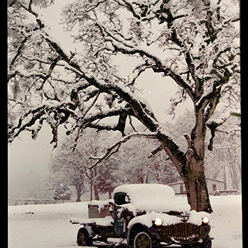 Oak Street Winter Snow Covered Truck LED Art 17'x14' Canvas Light up Picture