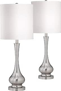 Modern Table Lamps Set of 2 Brushed Steel Tall Gourd White Drum Shade for Living Room Family Bedroom Bedside - Possini Euro Design