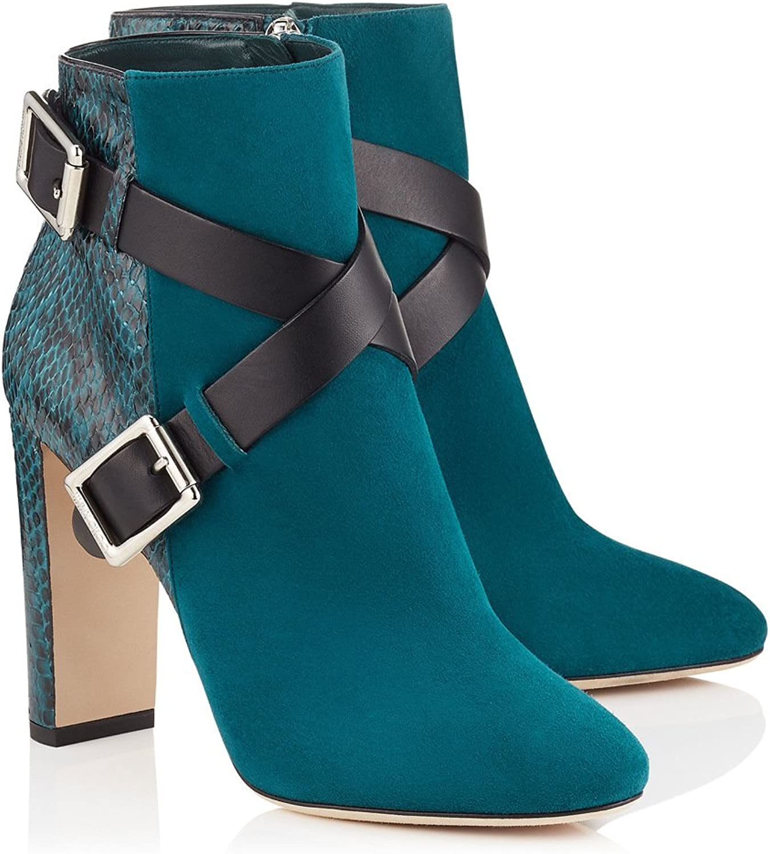 AIWEIYi Womens Buckle Belt Chunky High Heels Ankle Boots Black