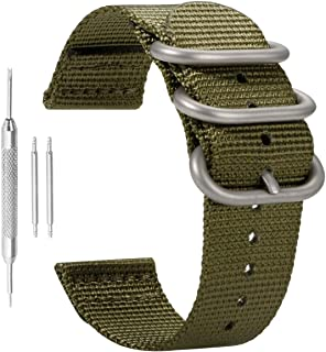 18-24mm NATO Nylon Watch Band Superior Men's Wristband Premium Sturdy Exotic Nylon Watch Straps Replacement Ballistic Nylon Watch Band Strap Replacement for Men Braided