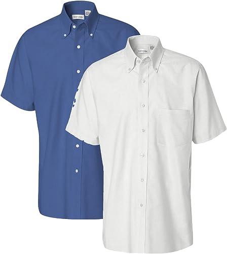 Van Heusen Hommes's courte-Sleeve Oxford Robe Shirt, 1 English bleu + 1 blanc, XX-grand