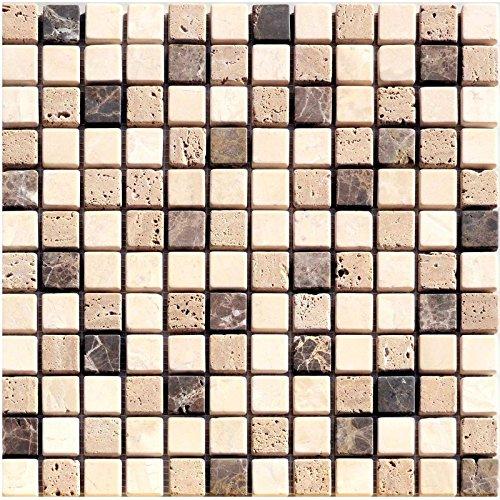 1rete Natura del mosaico di pietra marrone beige Mix marmo calcare