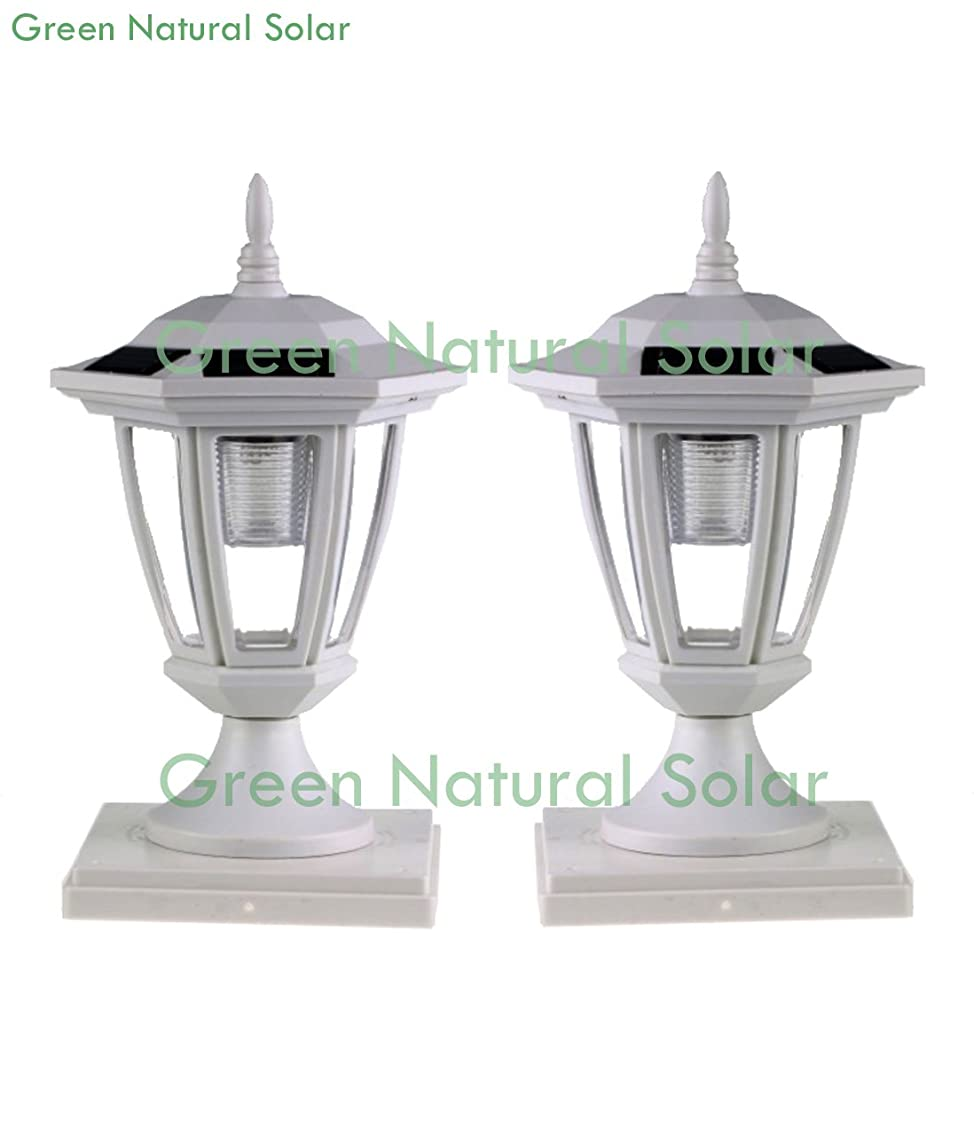 2-Pack WHITE Solar Hexagon Post Cap Lights with WHITE LEDS for 5X5 Fence Post- GREEN NATURAL SOLAR
