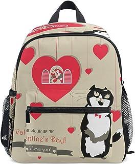Corazón Divertido Amor Gato Gatito Mochila para Preescolar Niñas Niños Toddler Kids Estudiante Mochilas para Infantiles 1-6 Años