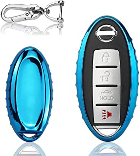 QBUC for Nissan Car Key Cover, 3 4 5 Button Case Key Fob Cover with Key Chain, Replacement Key Fob