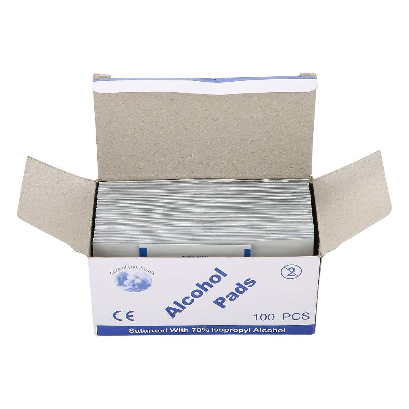 100個/箱使い捨てアルコール綿パッド (UnitCount : 2 box)
