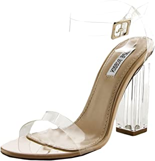Cape Robbin Maria-2 Women s Lucite Clear Strappy Block Chunky High Heel  Open Peep Toe 9b7cf3e7aff4