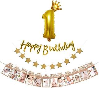 誕生日 飾り付け 1歳 きらきら ゴールド HAPPYBIRTHDAY ガーランド セット バースデー 飾り 12月 写真クリップ