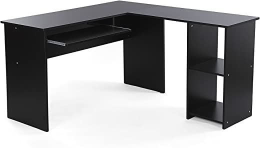 VASAGLE Eckschreibtisch, großer Computertisch mit 2 Ablagen und Tastaturauszug, Schreibtisch, 140 x 120 cm, stabiler PC-Tisch, Winkelkombination,…