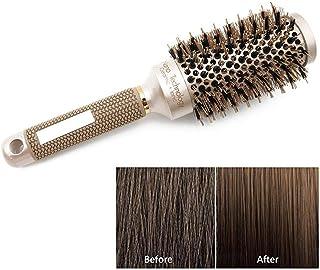 Barrel Brush, Boar Round Hair Brush for Blow Drying, Professional Nano Ceramic Ionic Hair Dryer Brush for Women Men Hair Drying Styling Curling